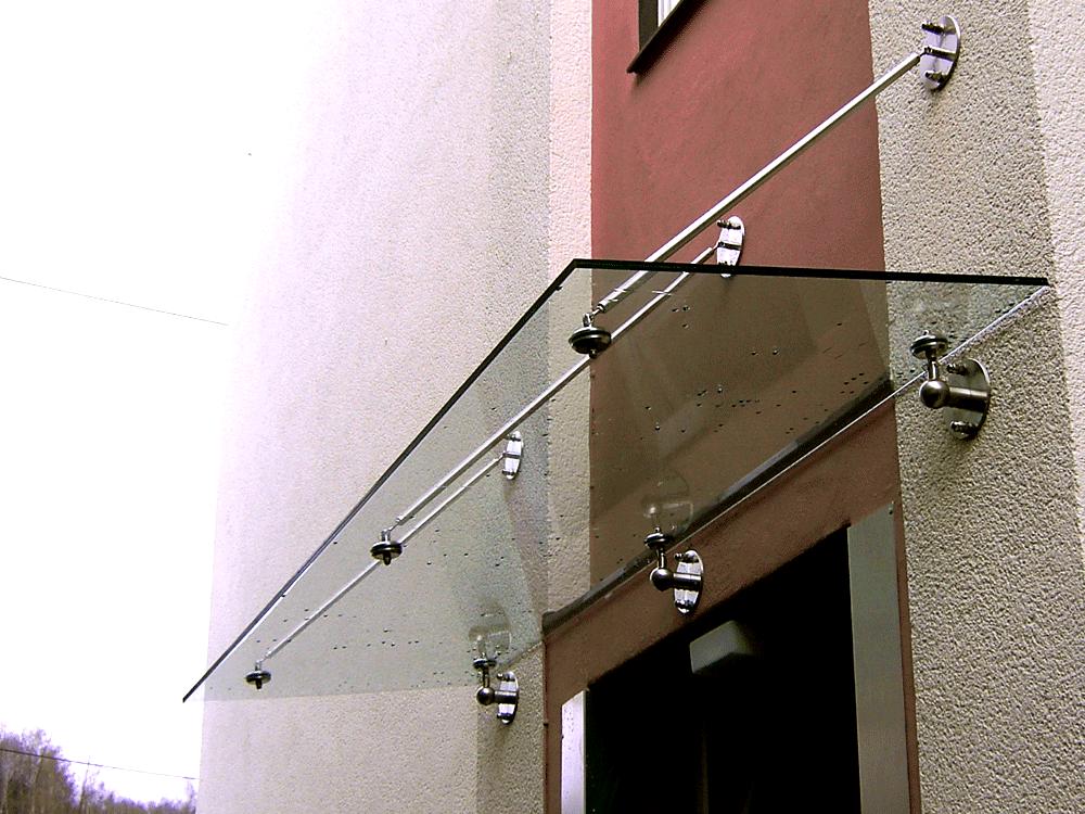 Glas Dach Haustüre